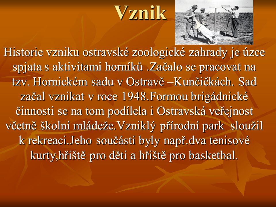 VznikHistorie vzniku ostravské zoologické zahrady je úzce spjata s aktivitami horníků.Začalo se pracovat na tzv. Hornickém sadu v Ostravě –Kunčičkách.