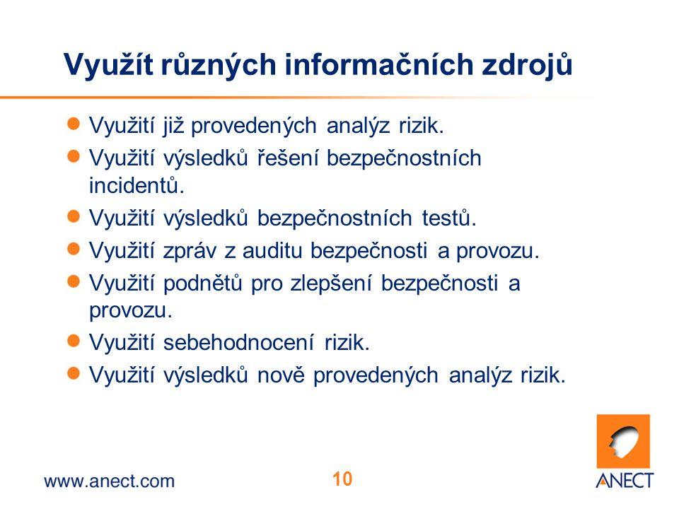 10 Využít různých informačních zdrojů Využití již provedených analýz rizik. Využití výsledků řešení bezpečnostních incidentů. Využití výsledků bezpečn