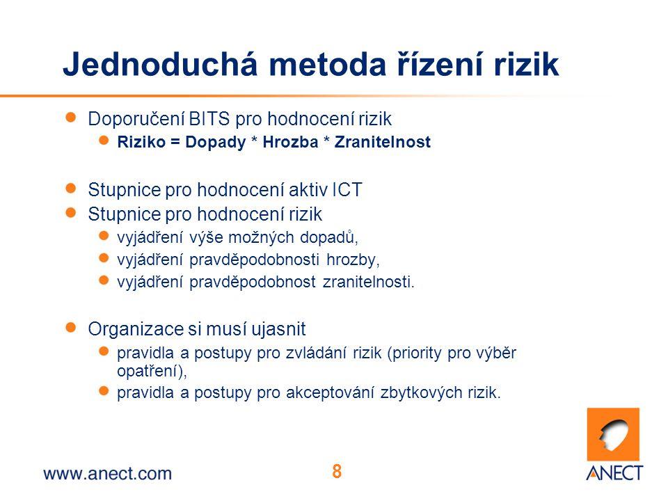 8 Jednoduchá metoda řízení rizik Doporučení BITS pro hodnocení rizik Riziko = Dopady * Hrozba * Zranitelnost Stupnice pro hodnocení aktiv ICT Stupnice