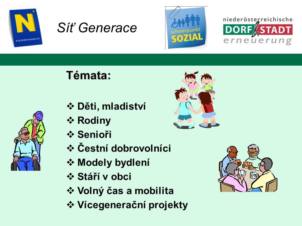 Síť Generace Témata:  Děti, mladiství  Rodiny  Senioři  Čestní dobrovolníci  Modely bydlení  Stáří v obci  Volný čas a mobilita  Vícegenerační projekty