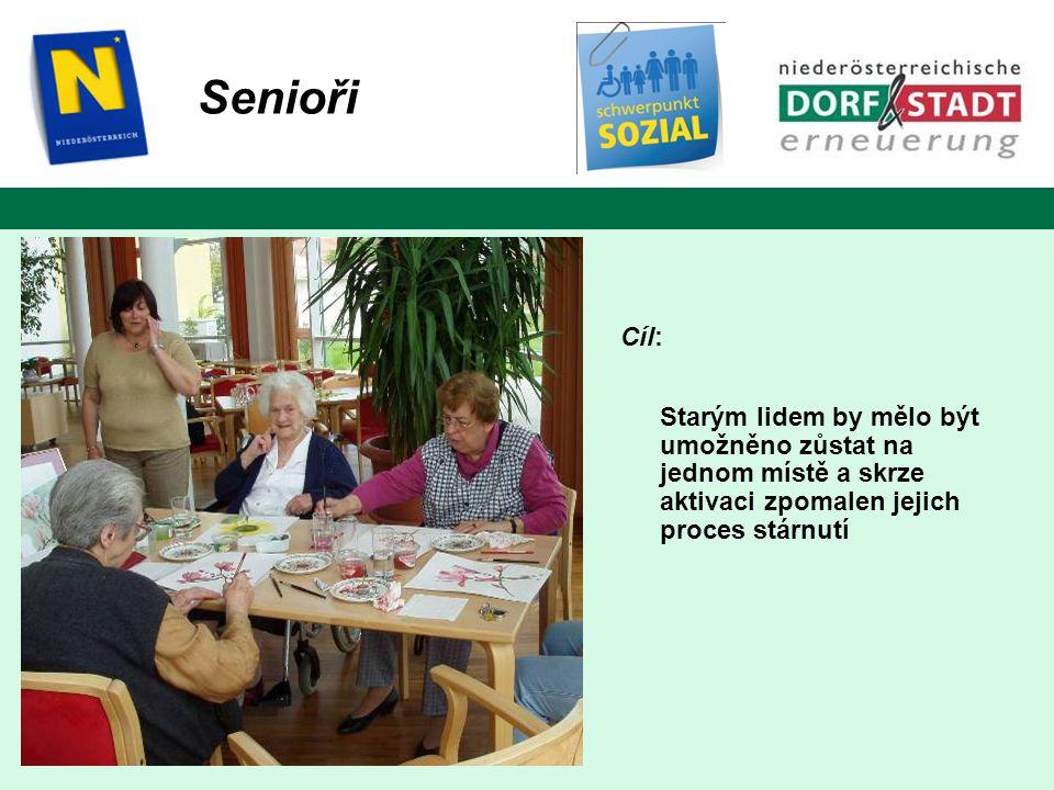 Senioři Cíl: Starým lidem by mělo být umožněno zůstat na jednom místě a skrze aktivaci zpomalen jejich proces stárnutí