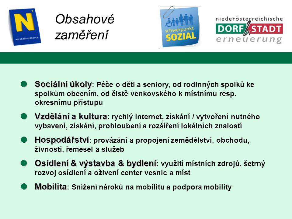 Obsahové zaměření  Sociální úkoly  Sociální úkoly : Péče o děti a seniory, od rodinných spolků ke spolkům obecním, od čistě venkovského k místnímu resp.