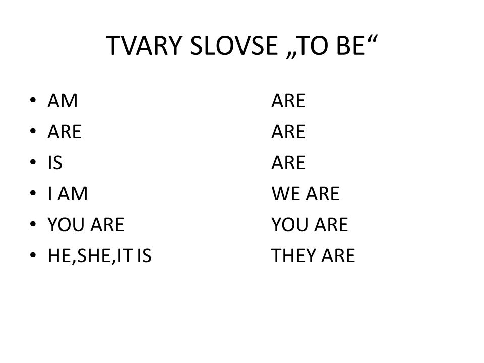 "TVARY SLOVSE ""TO BE"" AMARE AREARE ISARE I AMWE ARE YOU AREYOU ARE HE,SHE,IT ISTHEY ARE"