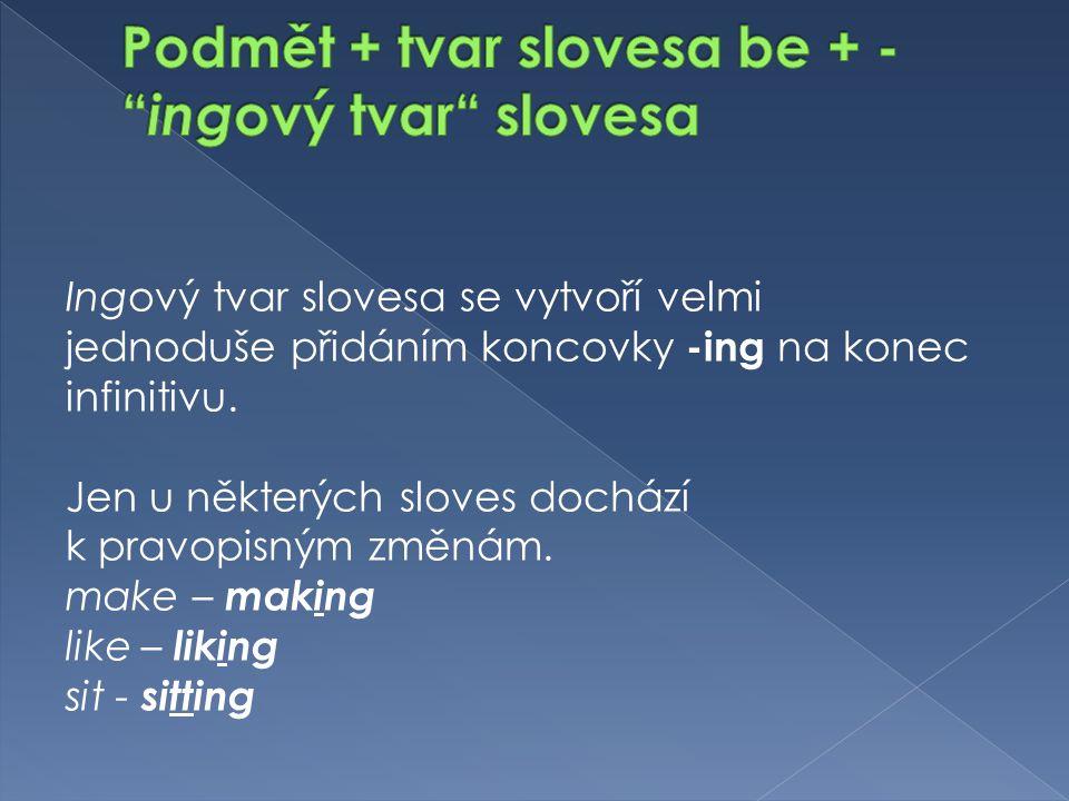 Ingový tvar slovesa se vytvoří velmi jednoduše přidáním koncovky -ing na konec infinitivu.