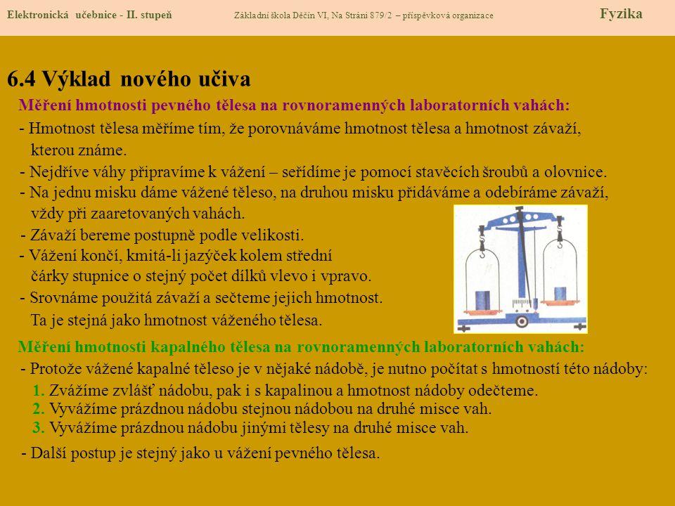 6.4 Výklad nového učiva Elektronická učebnice - II. stupeň Základní škola Děčín VI, Na Stráni 879/2 – příspěvková organizace Fyzika Měření hmotnosti p