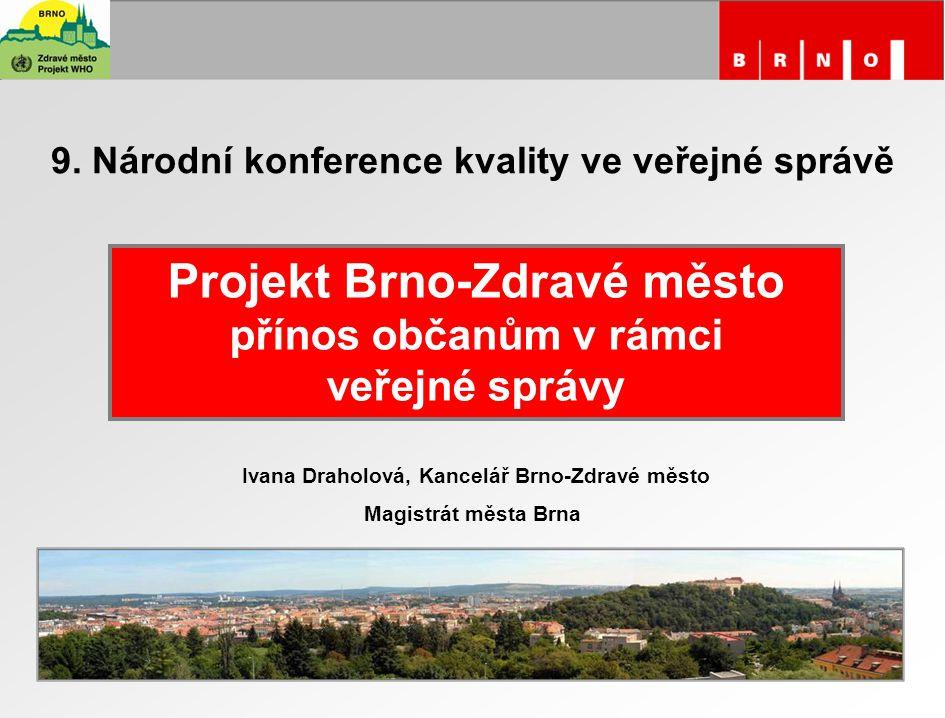 9. Národní konference kvality ve veřejné správě Projekt Brno-Zdravé město přínos občanům v rámci veřejné správy Ivana Draholová, Kancelář Brno-Zdravé