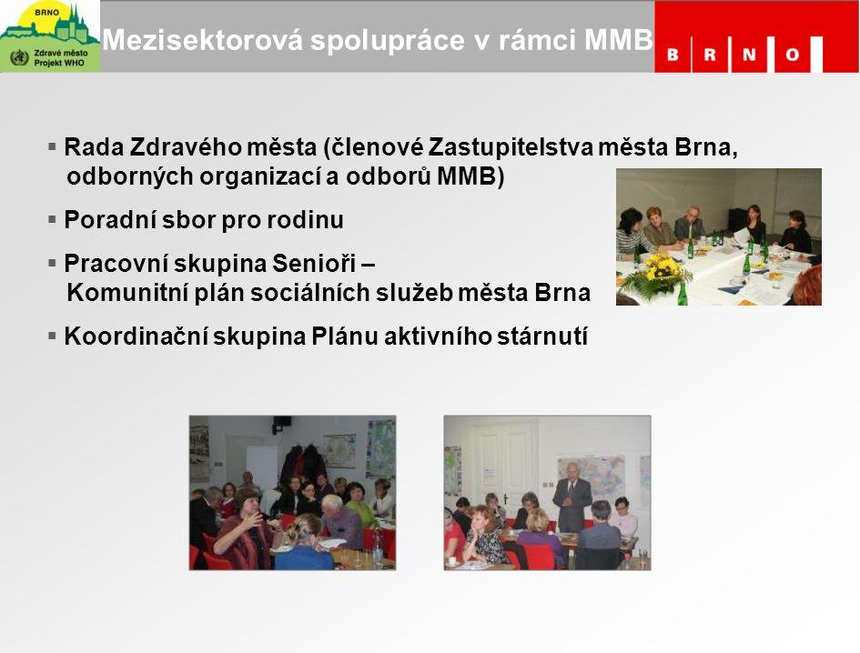 Mezisektorová spolupráce v rámci MMB  Rada Zdravého města (členové Zastupitelstva města Brna, odborných organizací a odborů MMB)  Poradní sbor pro r