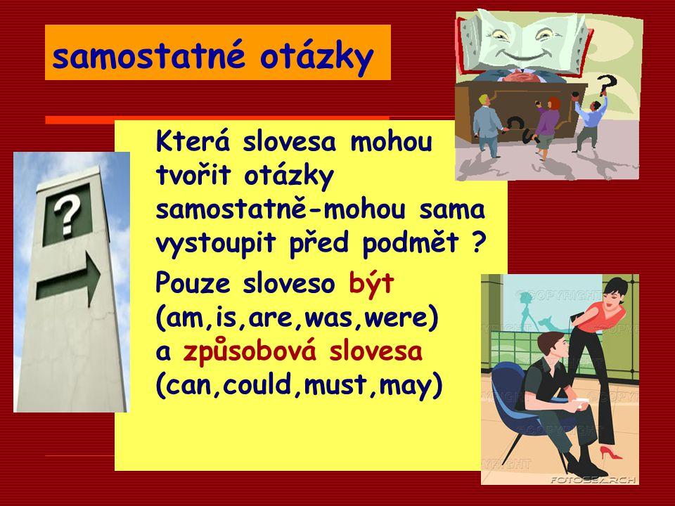 samostatné otázky Která slovesa mohou tvořit otázky samostatně-mohou sama vystoupit před podmět ? Pouze sloveso být (am,is,are,was,were) a způsobová s