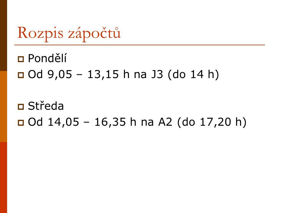 Rozpis zápočtů  Pondělí  Od 9,05 – 13,15 h na J3 (do 14 h)  Středa  Od 14,05 – 16,35 h na A2 (do 17,20 h)