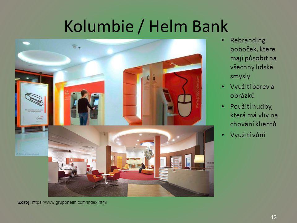 12 Kolumbie / Helm Bank 12 Rebranding poboček, které mají působit na všechny lidské smysly Využití barev a obrázků Použití hudby, která má vliv na chování klientů Využití vůní Zdroj: https://www.grupohelm.com/index.html