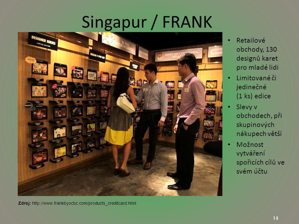 14 Singapur / FRANK 14 Retailové obchody, 130 designů karet pro mladé lidi Limitované či jedinečné (1 ks) edice Slevy v obchodech, při skupinových nákupech větší Možnost vytváření spořicích cílů ve svém účtu Zdroj: http://www.frankbyocbc.com/products_creditcard.html