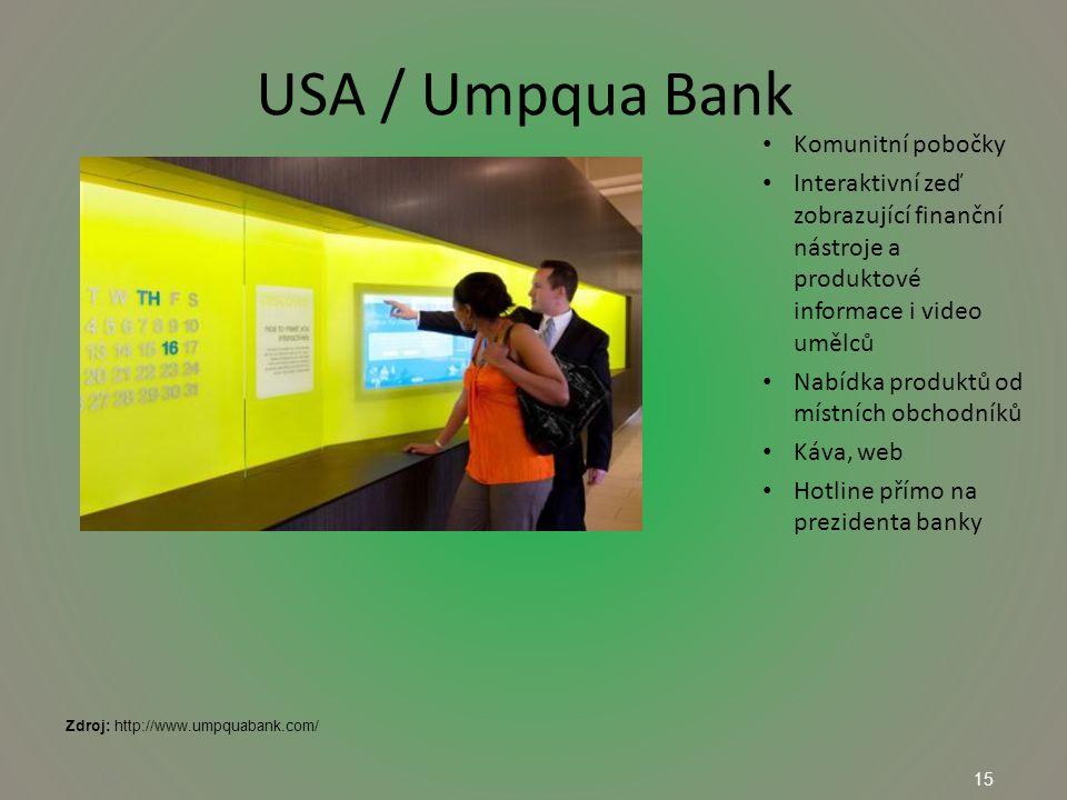 15 USA / Umpqua Bank 15 Komunitní pobočky Interaktivní zeď zobrazující finanční nástroje a produktové informace i video umělců Nabídka produktů od místních obchodníků Káva, web Hotline přímo na prezidenta banky Zdroj: http://www.umpquabank.com/