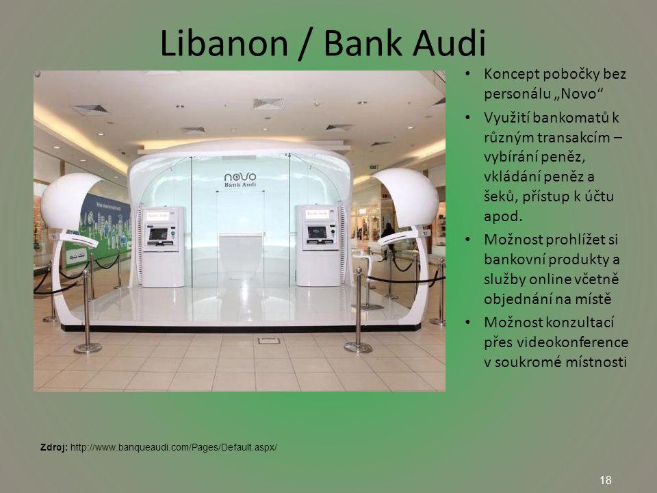 """18 Libanon / Bank Audi 18 Koncept pobočky bez personálu """"Novo Využití bankomatů k různým transakcím – vybírání peněz, vkládání peněz a šeků, přístup k účtu apod."""