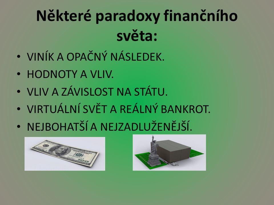 Některé paradoxy finančního světa: VINÍK A OPAČNÝ NÁSLEDEK.