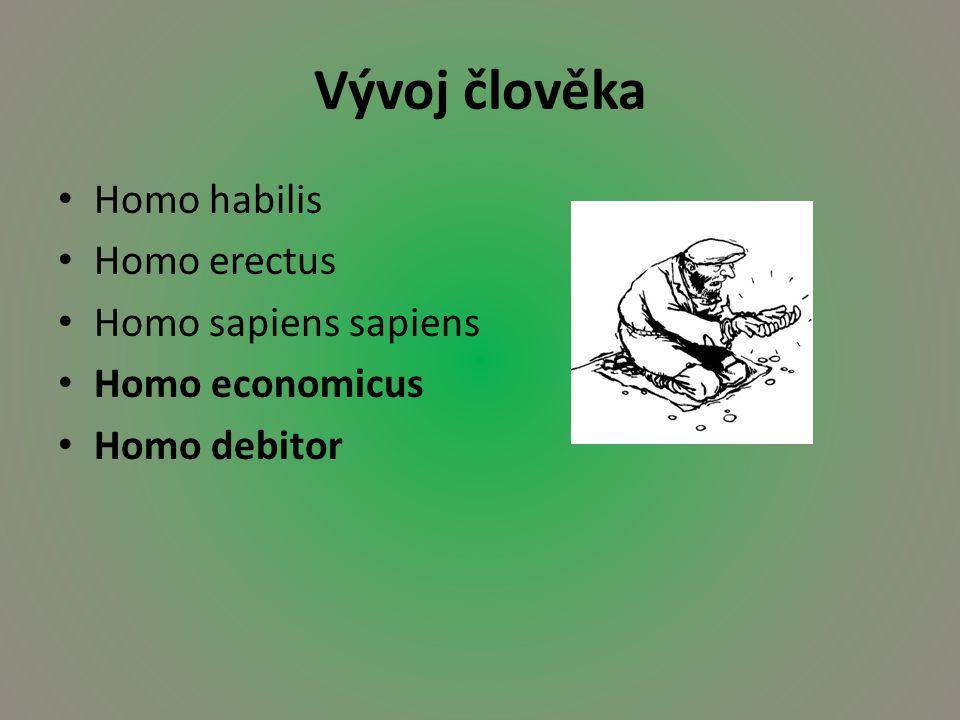 Vývoj člověka Homo habilis Homo erectus Homo sapiens sapiens Homo economicus Homo debitor