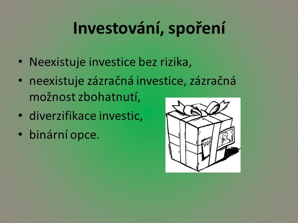 Investování, spoření Neexistuje investice bez rizika, neexistuje zázračná investice, zázračná možnost zbohatnutí, diverzifikace investic, binární opce.