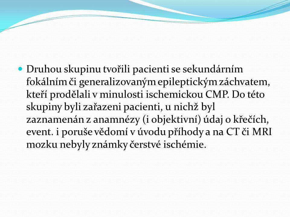 Druhou skupinu tvořili pacienti se sekundárním fokálním či generalizovaným epileptickým záchvatem, kteří prodělali v minulosti ischemickou CMP. Do tét