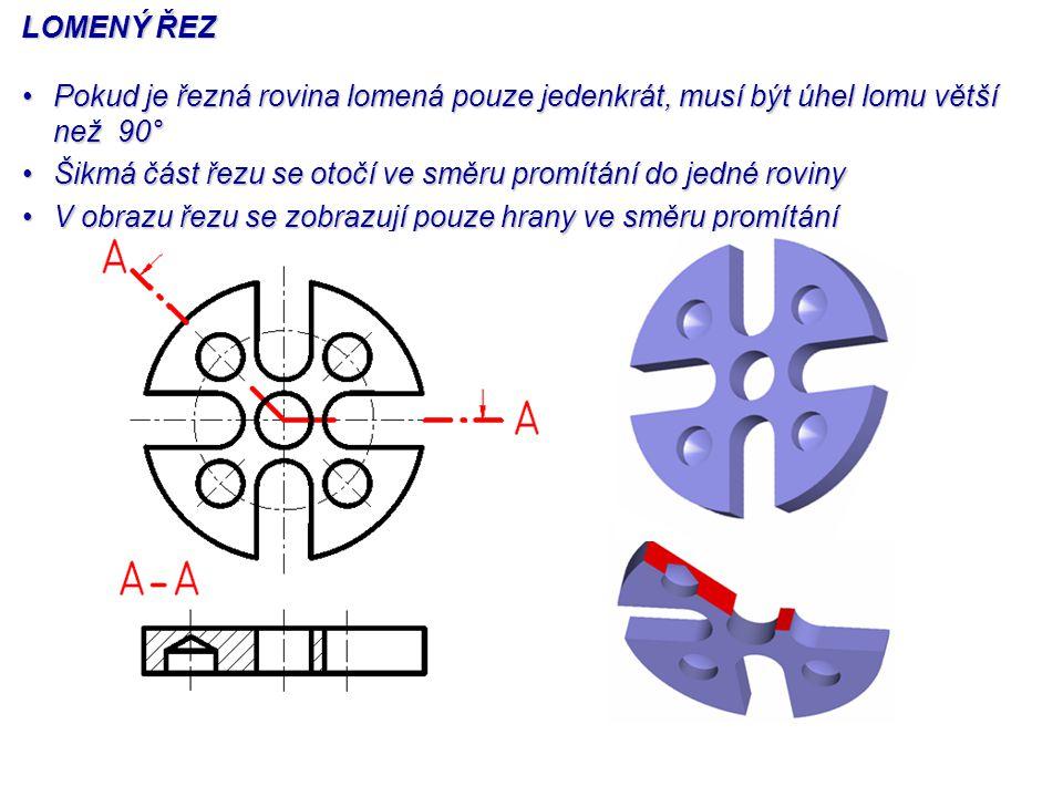 LOMENÝ ŘEZ Pokud je řezná rovina lomená pouze jedenkrát, musí být úhel lomu větší než 90°Pokud je řezná rovina lomená pouze jedenkrát, musí být úhel l