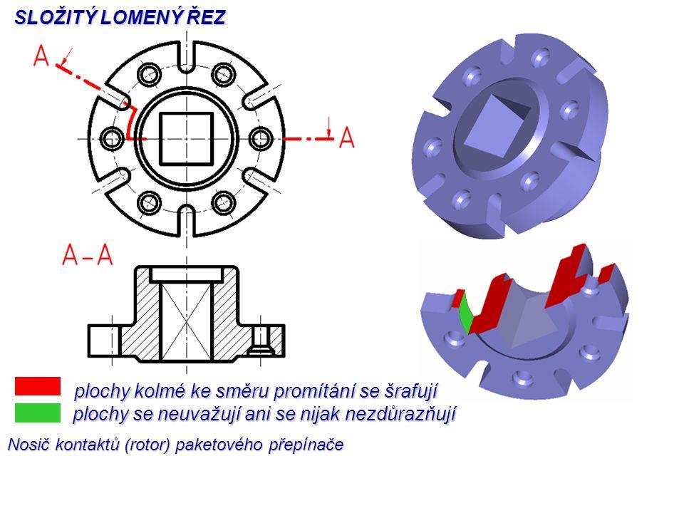 plochy kolmé ke směru promítání se šrafují plochy se neuvažují ani se nijak nezdůrazňují SLOŽITÝ LOMENÝ ŘEZ Nosič kontaktů (rotor) paketového přepínače