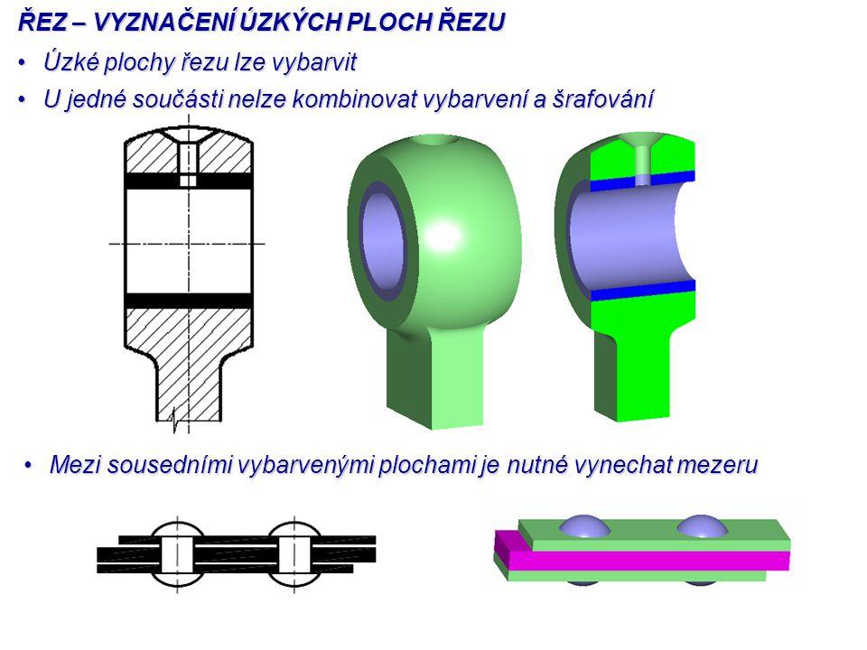 ŘEZ – VYZNAČENÍ ÚZKÝCH PLOCH ŘEZU Úzké plochy řezu lze vybarvitÚzké plochy řezu lze vybarvit U jedné součásti nelze kombinovat vybarvení a šrafováníU