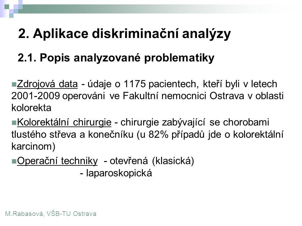 2. Aplikace diskriminační analýzy 2.1. Popis analyzované problematiky Zdrojová data - údaje o 1175 pacientech, kteří byli v letech 2001-2009 operováni