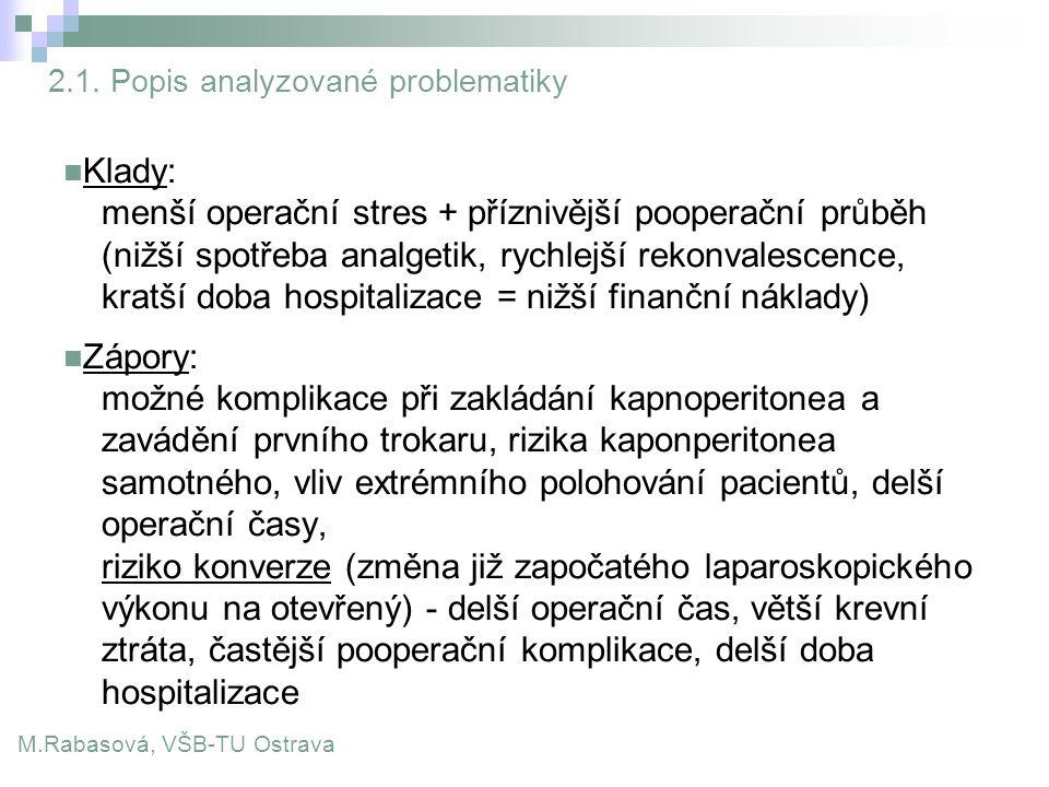 2.1. Popis analyzované problematiky Klady: menší operační stres + příznivější pooperační průběh (nižší spotřeba analgetik, rychlejší rekonvalescence,