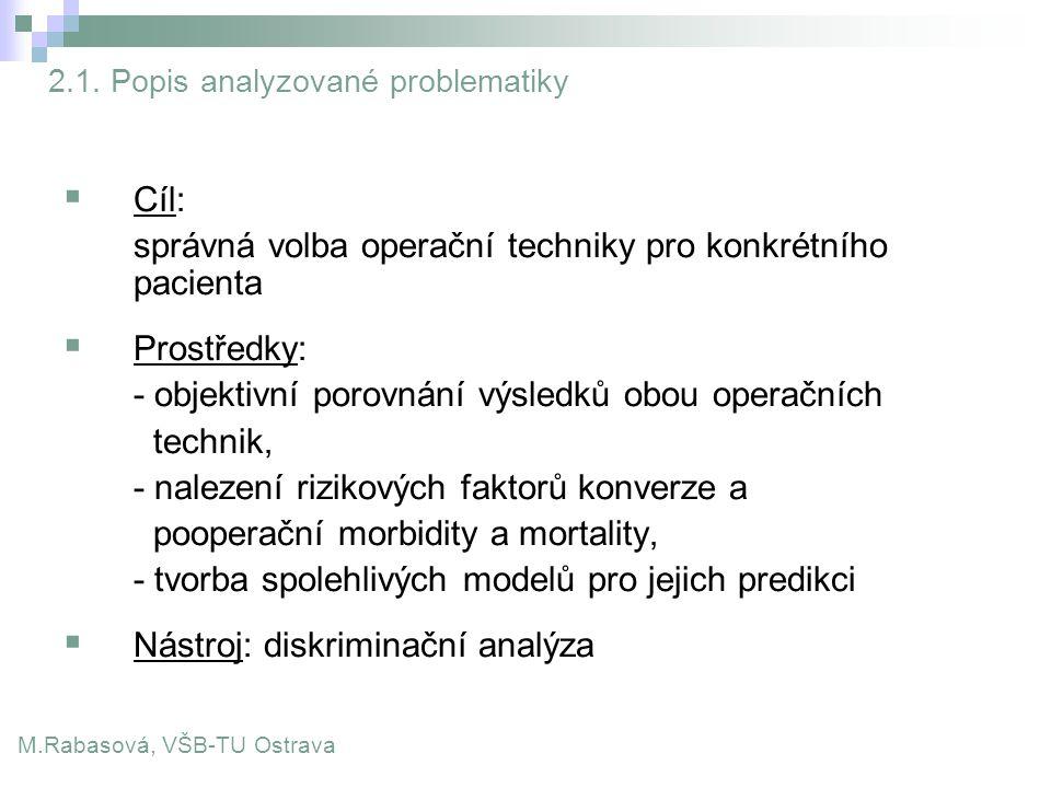 2.1. Popis analyzované problematiky  Cíl: ̵ správná volba operační techniky pro konkrétního pacienta  Prostředky: ̵ - objektivní porovnání výsledků
