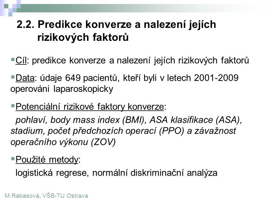 2.2. Predikce konverze a nalezení jejích rizikových faktorů  Cíl: predikce konverze a nalezení jejích rizikových faktorů  Data: údaje 649 pacientů,