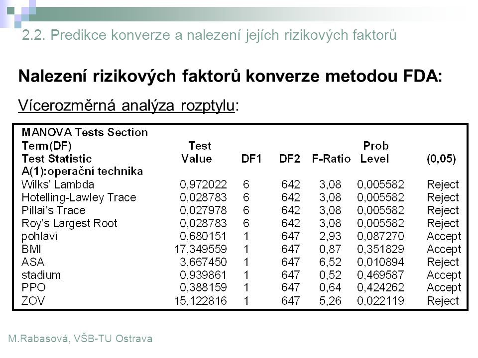 Nalezení rizikových faktorů konverze metodou FDA: Vícerozměrná analýza rozptylu: M.Rabasová, VŠB-TU Ostrava 2.2. Predikce konverze a nalezení jejích r