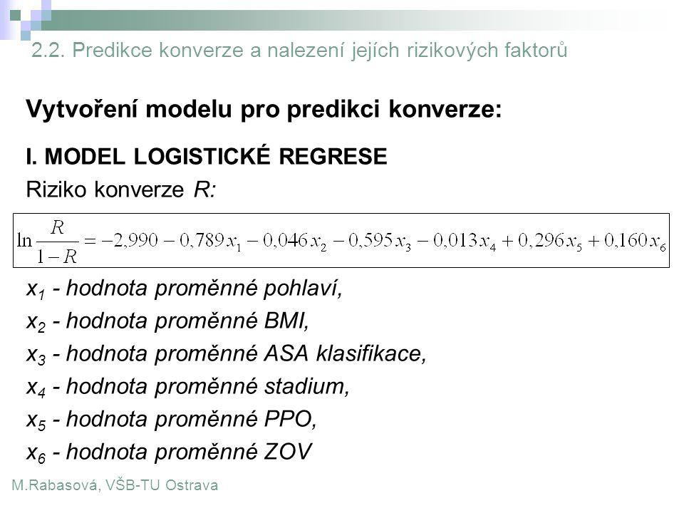 Vytvoření modelu pro predikci konverze: I. MODEL LOGISTICKÉ REGRESE Riziko konverze R: x 1 - hodnota proměnné pohlaví, x 2 - hodnota proměnné BMI, x 3
