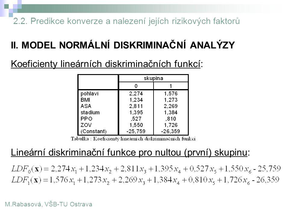 II. MODEL NORMÁLNÍ DISKRIMINAČNÍ ANALÝZY Koeficienty lineárních diskriminačních funkcí: Lineární diskriminační funkce pro nultou (první) skupinu: M.Ra