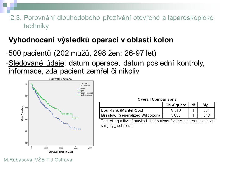 M.Rabasová, VŠB-TU Ostrava 2.3. Porovnání dlouhodobého přežívání otevřené a laparoskopické techniky Vyhodnocení výsledků operací v oblasti kolon ̵ 500