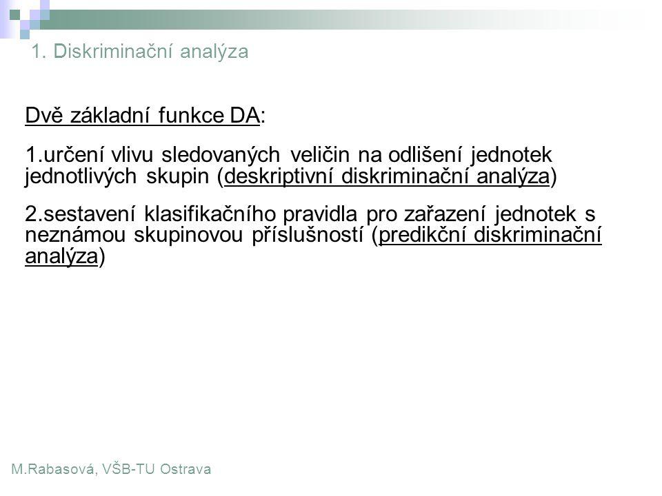 1. Diskriminační analýza M.Rabasová, VŠB-TU Ostrava Dvě základní funkce DA: 1.určení vlivu sledovaných veličin na odlišení jednotek jednotlivých skupi