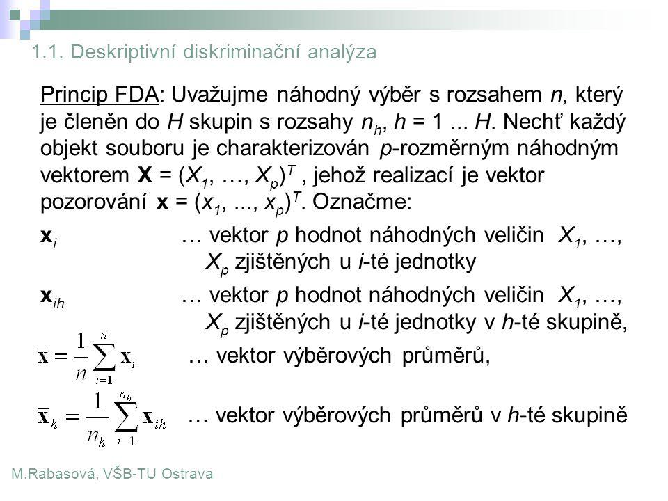 1.1. Deskriptivní diskriminační analýza Princip FDA: Uvažujme náhodný výběr s rozsahem n, který je členěn do H skupin s rozsahy n h, h = 1... H. Nechť
