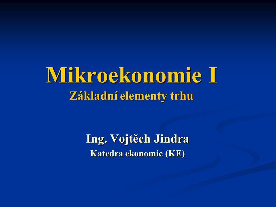 Mikroekonomie I Základní elementy trhu Ing. Vojtěch Jindra Katedra ekonomie (KE)