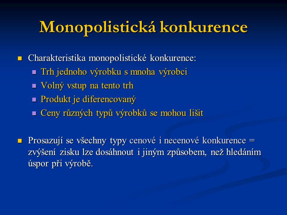 Monopolistická konkurence Charakteristika monopolistické konkurence: Charakteristika monopolistické konkurence: Trh jednoho výrobku s mnoha výrobci Tr