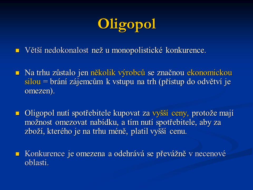 Oligopol Větší nedokonalost než u monopolistické konkurence. Větší nedokonalost než u monopolistické konkurence. Na trhu zůstalo jen několik výrobců s