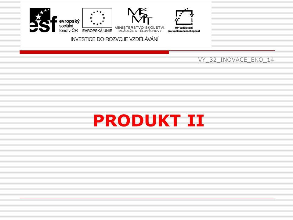 Životní cyklus produktu  každý výrobek má svoji životnost – doba, po kterou se nabízí zákazníkům a ti jej kupují  skládá se ze 4 fází:  uvedení výrobku – výrobek je novinkou, poptávka po něm nízká, příjmy z prodeje malé, zisk téměř nulový, velké prostředky na propagaci, 2 – 3 % zákazníků kupují (inovátoři) EKO VY_32_INOVACE_EKO_14