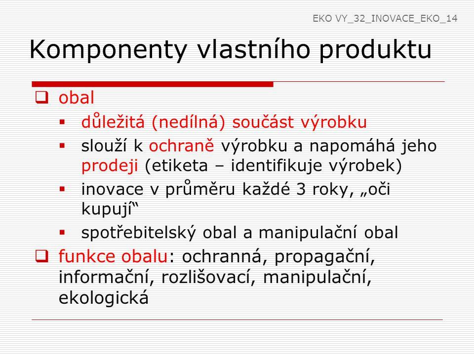Komponenty vlastního produktu  značka výrobku  je označením, pod kterým se výrobek nebo služba prodává  je názvem, znakem, symbolem - identifikace výrobku nebo služby  odlišuje výrobek od podobného výrobku na trhu – konkurence  hodnota značky je tím vyšší, čím vyšší je povědomí zákazníka o výrobku nebo službě EKO VY_32_INOVACE_EKO_14
