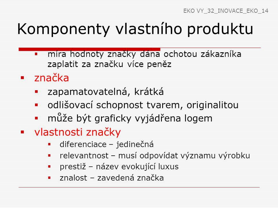 Komponenty vlastního produktu  ochranná známka  jakékoliv označení, které je způsobilé odlišit výrobky nebo služby jednoho subjektu od druhého  nejstarší logo Poldiny Huti 1893  kresba slona – zapsána 1896 (guma na mazání) – KOH-I-NOOR HARDTMUTH  známka – slovní, obrazová, kombinovaná, trojrozměrná EKO VY_32_INOVACE_EKO_14