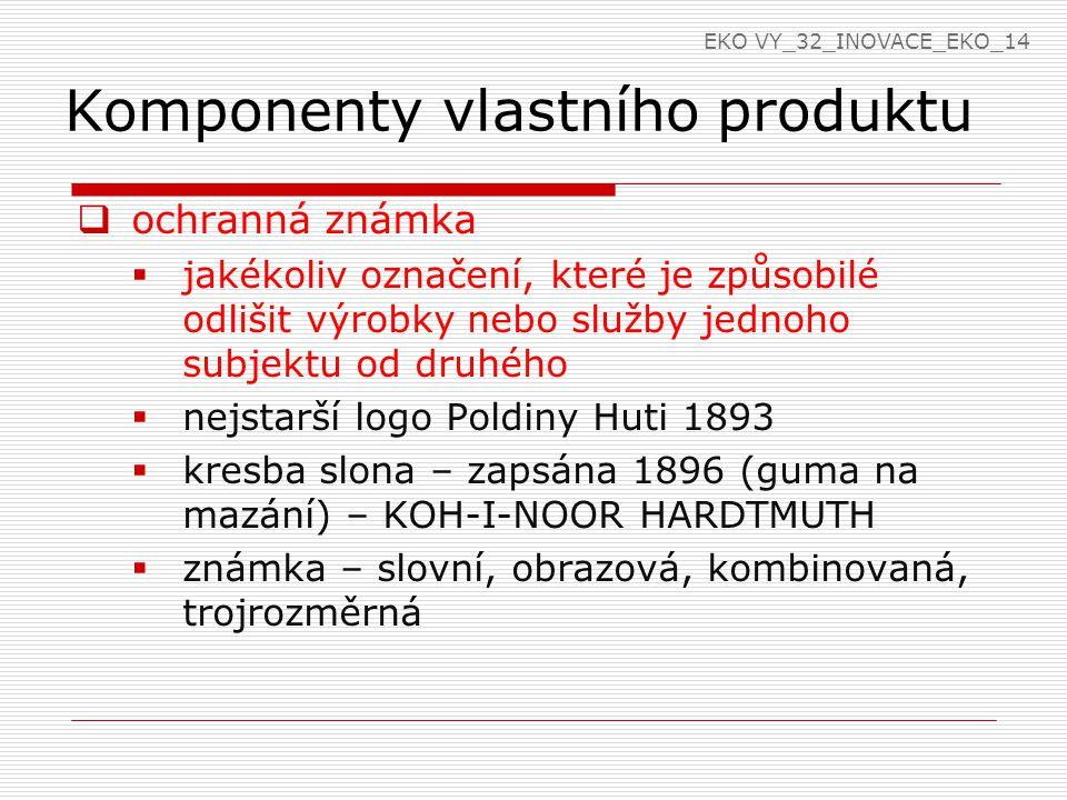 Komponenty vlastního produktu  ochranná známka  jakékoliv označení, které je způsobilé odlišit výrobky nebo služby jednoho subjektu od druhého  nej