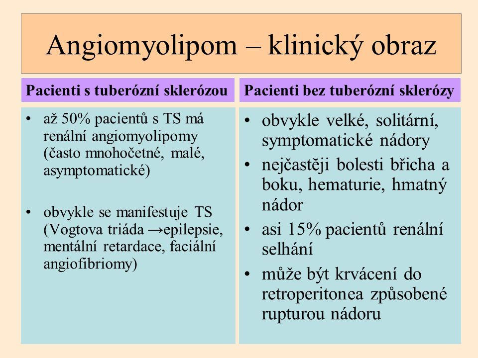 Angiomyolipom – klinický obraz až 50% pacientů s TS má renální angiomyolipomy (často mnohočetné, malé, asymptomatické) obvykle se manifestuje TS (Vogt