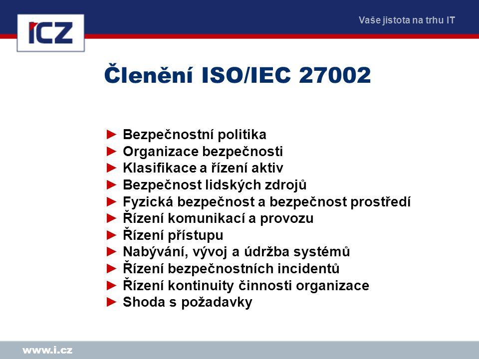 Vaše jistota na trhu IT www.i.cz Členění ISO/IEC 27002 ►Bezpečnostní politika ►Organizace bezpečnosti ►Klasifikace a řízení aktiv ►Bezpečnost lidských