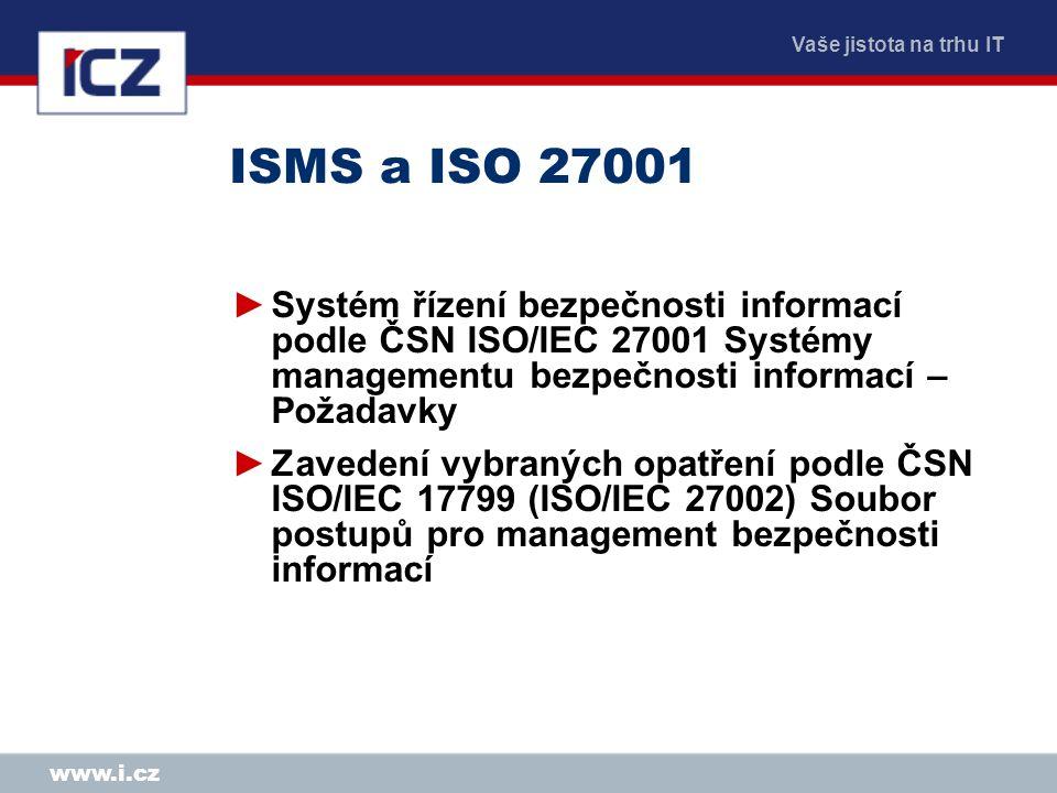 Vaše jistota na trhu IT www.i.cz ISMS a ISO 27001 ►Systém řízení bezpečnosti informací podle ČSN ISO/IEC 27001 Systémy managementu bezpečnosti informa