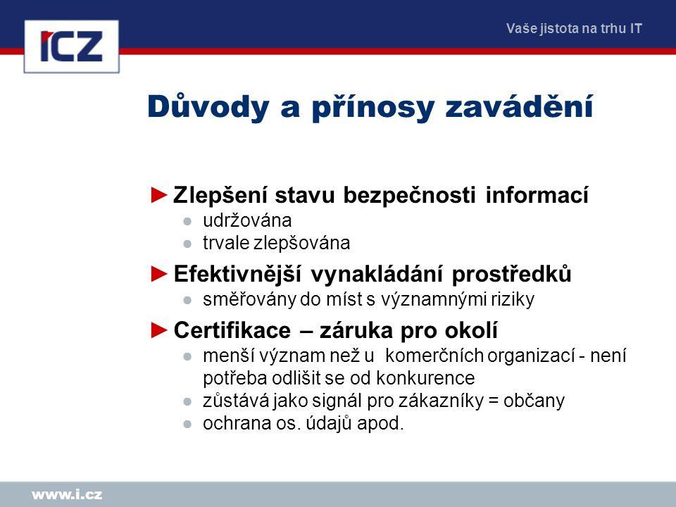 Vaše jistota na trhu IT www.i.cz Soustavné zlepšování opakováním cyklu PDCA
