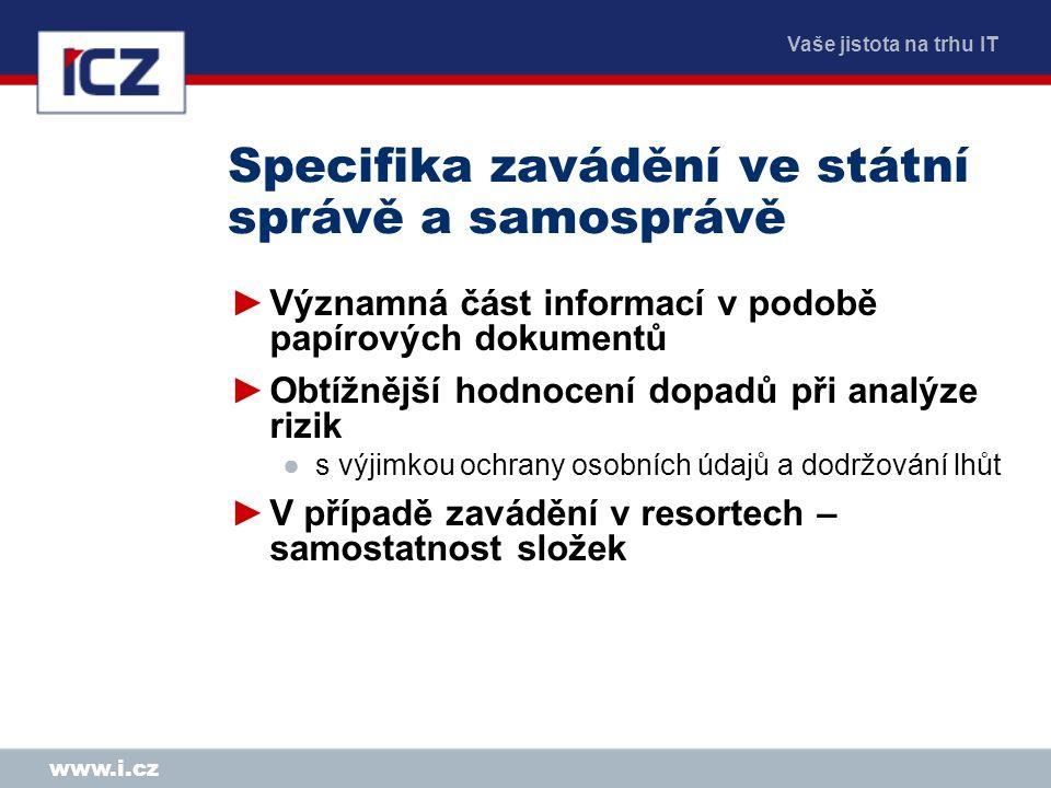 Vaše jistota na trhu IT www.i.cz Specifika zavádění ve státní správě a samosprávě ►Významná část informací v podobě papírových dokumentů ►Obtížnější h