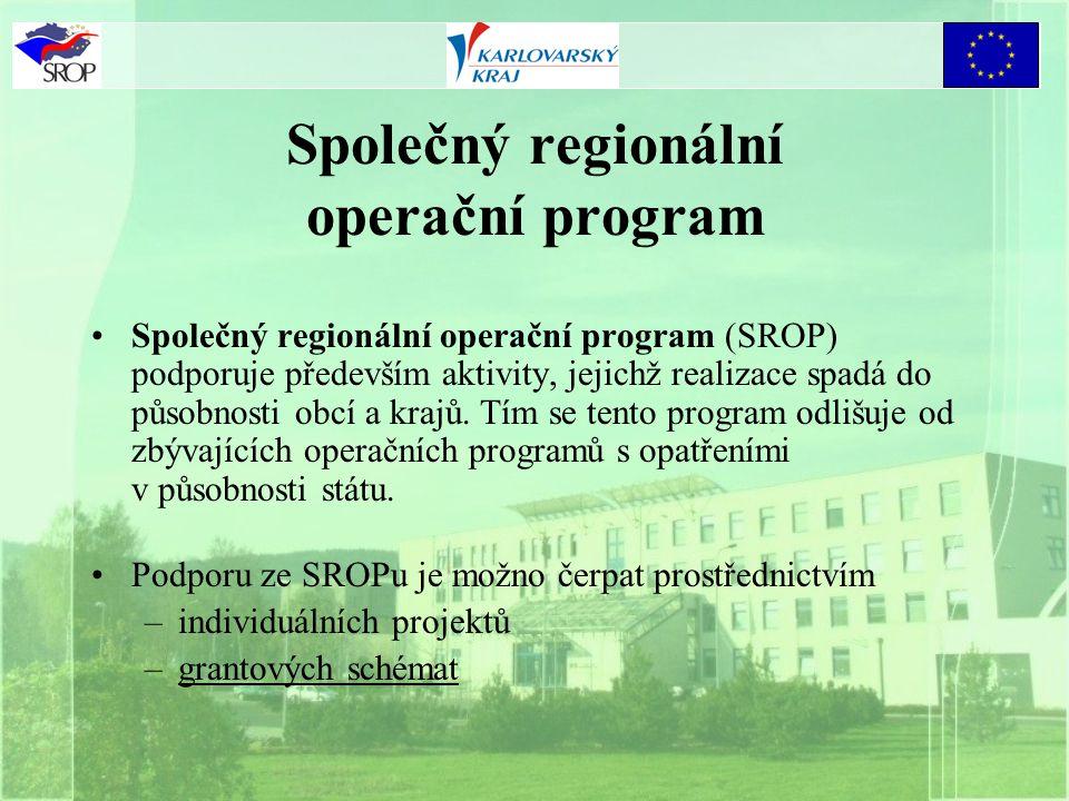 Společný regionální operační program Společný regionální operační program (SROP) podporuje především aktivity, jejichž realizace spadá do působnosti obcí a krajů.