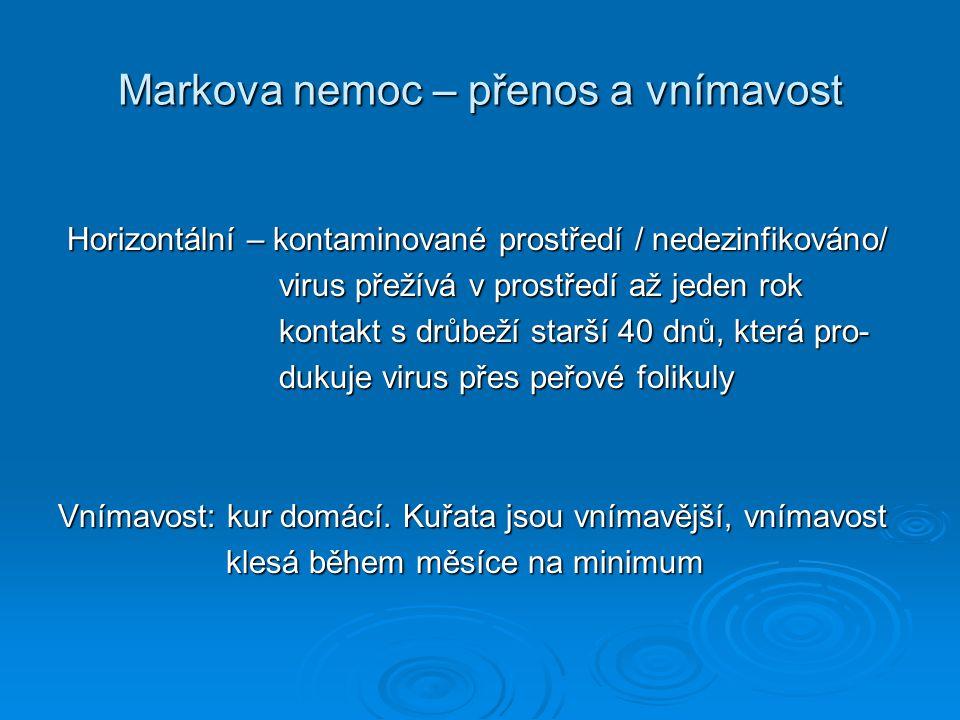 Markova nemoc – přenos a vnímavost Horizontální – kontaminované prostředí / nedezinfikováno/ Horizontální – kontaminované prostředí / nedezinfikováno/