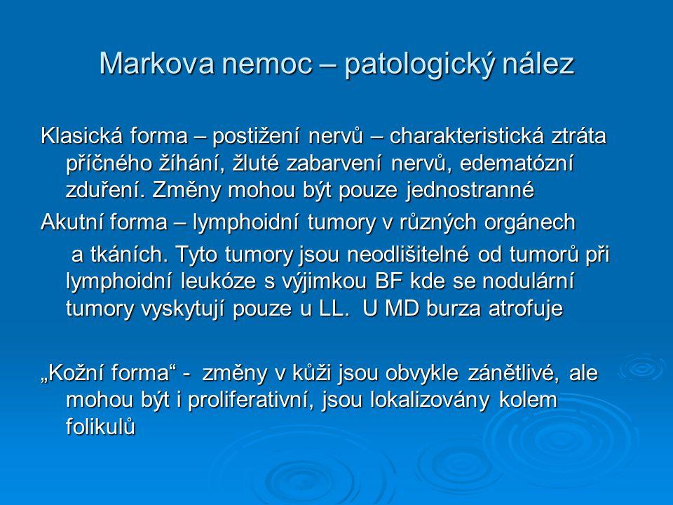 Markova nemoc - diagnostika  izolace a identifikace viru  Serologické vyšetření imunodifuzí AGP  Nepřímá imunofluorescence  Virus neutralizační test  ELISA