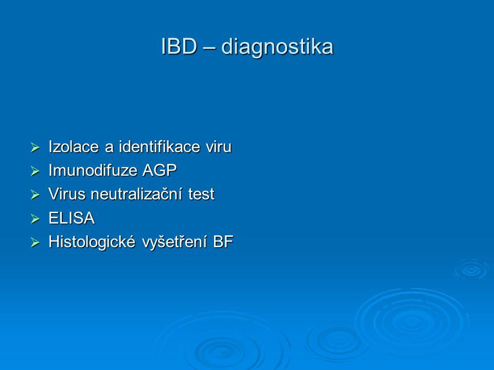 IBD – diagnostika  Izolace a identifikace viru  Imunodifuze AGP  Virus neutralizační test  ELISA  Histologické vyšetření BF